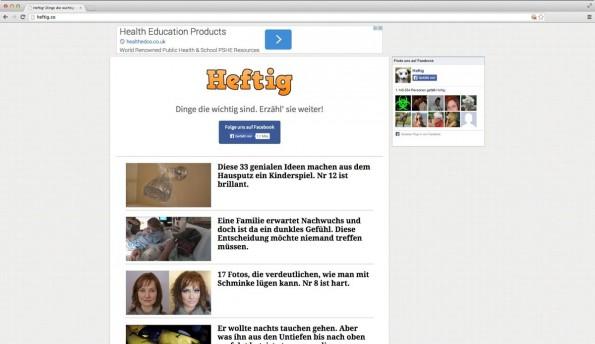 Der BuzzFeed-Klon Heftig hat die Diskussion um das Clickbaiting auch in Deutschland entfacht. (Screenshot: Heftig)