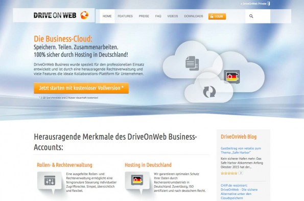 DriveOnWeb ist eine deutsche Dropbox-Alternative. (Screenshot: DriveOnWeb)