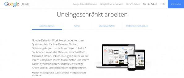 Google Drive: Der Cloud-Speicher des Suchgiganten bietet Firmen unlimitierten Speicherplatz. (Screenshot: Google)