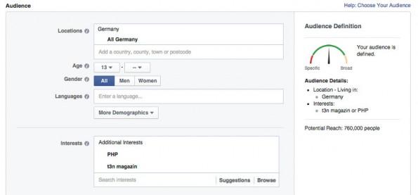 Facebook: Dank der unterschiedlichen Zielgruppen könnt ihr ausrechnen, wie viele Fans eines Brands sich für ein bestimmtes Thema begeistern können. (Screenshot: Facebook)