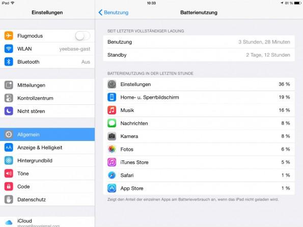 In iOS 8 findet sich eine neue Einstellung, die euch anzeigt, welche Apps den meisten Strom verbrauchen.