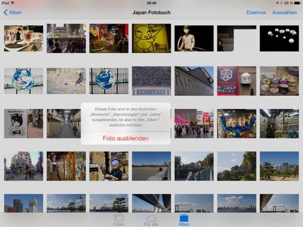 Ihr könnt Fotos in iOS 8 neuerdings auch verstecken.
