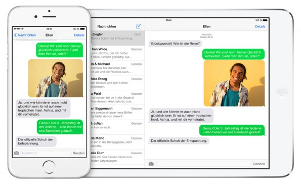 Dank iOS 8.1 und Yosemite könnt ihr auch auf verschiedenen Geräten SMS empfangen und beantworten. (Grafik: Apple)