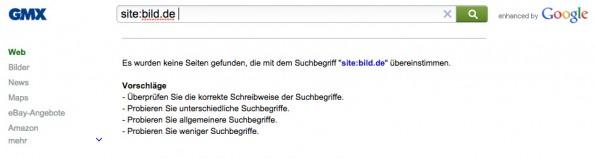 Leistungsschutzrecht: GMX, Web.de und T-Online verzichten auf die Anzeige von VG-Media-Mitgliedern in ihren Suchergebnissen. (Screenshot: GMX)