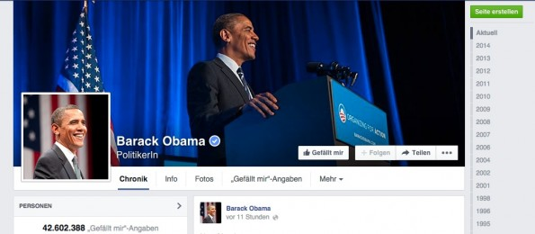 Obama auf Facebook. (Screenshot: facebook.com)