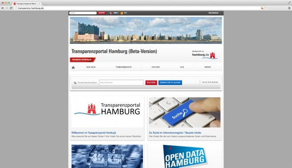 Das Open-Data-Portal Transparenz Hamburg. (Screenshot: Transparenz Hamburg)