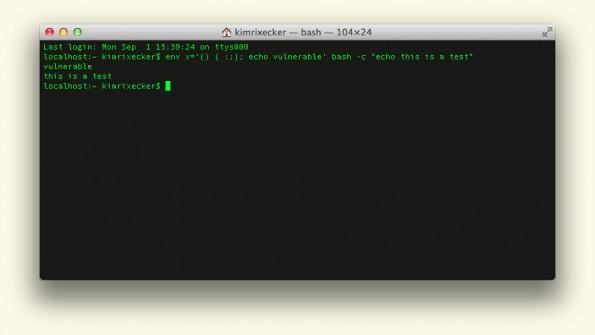 Shellshock: Auch OS X ist von Bash-Bug betroffen. (Screenshot: OS X)