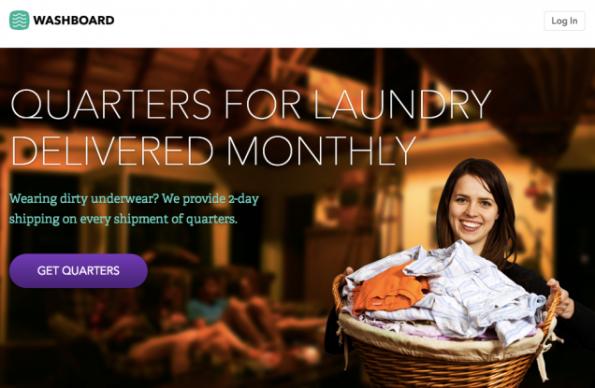 Sich Münzen für die Waschmaschine gegen einen Aufpreis schicken lassen - ist das typischer Silicon-Valley-Bullshit? (Screenshot: Washboard)