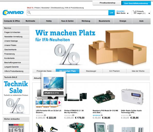 Auch bei Online-Shops wie Conrad klinkt sich die Superfisch-Erweiterung ein. (Bild: Online Marketing Rockstars)