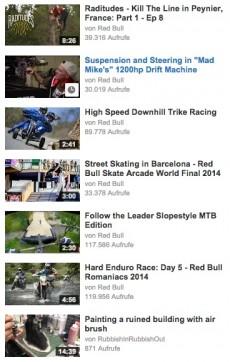 Der clevere Einsatz von Tags sorgt dafür, dass in der Sidebar eines Videos von Red Bull fast ausschließlich eigene Inhalte empfohlen werden. (Screenshot: youtube.com)