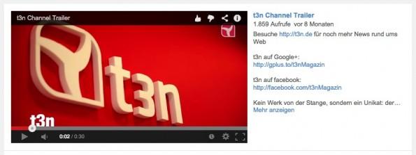 Der Trailer des t3n-Kanals inklusive externer Links in der Beschreibung. (Screenshot: youtube.com)