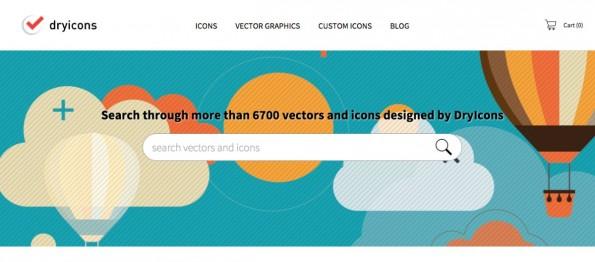 Bei DryIcons gibt es über 6.000 kostenlose Icons und Vektoren. (Screenshot: DryIcons)