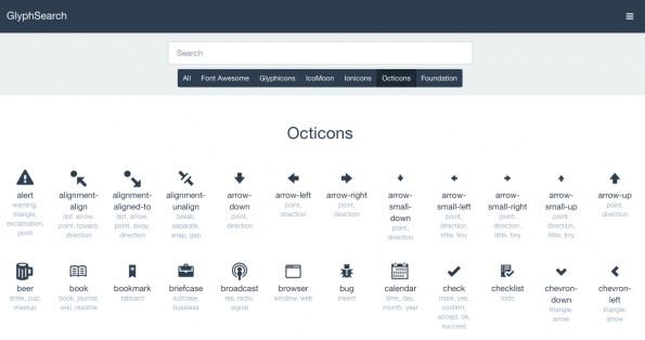 GlyphSearch vereint populäre Icon-Sets in einer Suchmaske. (Screenshot: GlyphSearch)