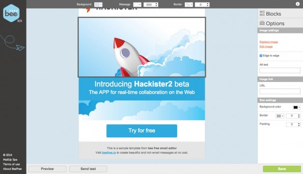 Mit BeeFree erstellt ihr schnell responsive E-Mails für eure nächste Kampagne. (Screenshot: BeeFree)