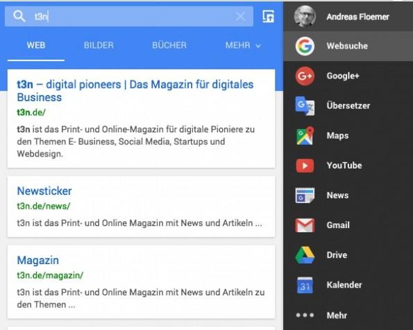 Chrome-Erweiterung Black Menu – nahezu alle Google-Dienste griffbereit. (Screenshot: Google)