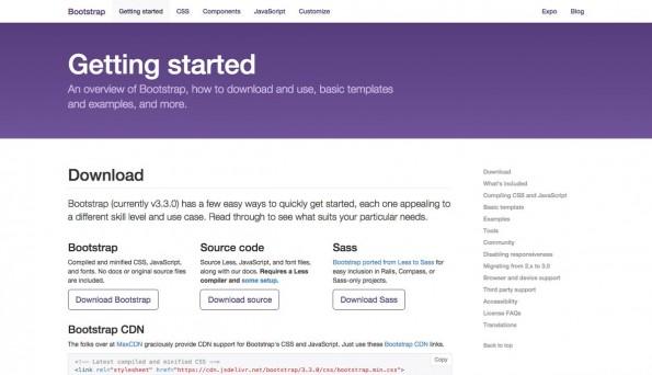 Bootstrap 3.3.0: Die neue Versions des Frontend-Frameworks steht jetzt zum Download bereit. (Screenshot: getbootstrap.com)