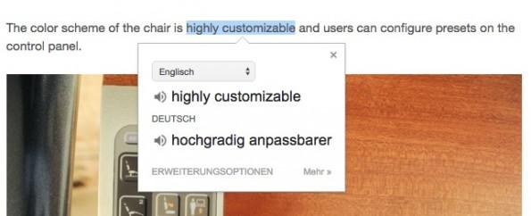 Der Google-Übersetzer ist mittlerweile eine sehr nützliche Erweiterung geworden. (Screenshot: t3n)