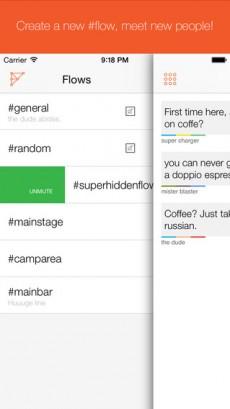 Kein Netz und trotzdem chatten wollen? Flows reiht sich in die Reihe der Apps ein, die das ermöglicht. (Screenshot: Flows)