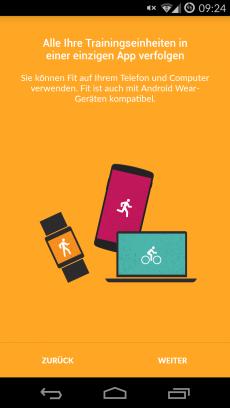 Beim ersten Start der App zeigt Google Fit direkt alle Plattformen, auf denen die Nutzung möglich ist. (Screenshot: Google Fit)