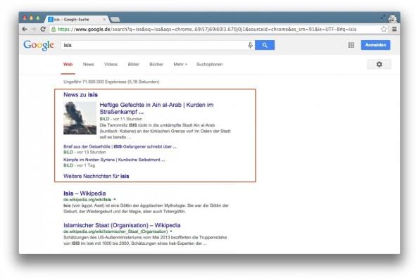 """Beispiel einer News-Onebox zum Keyword """"ISIS"""". (Screenshot: google.de)"""