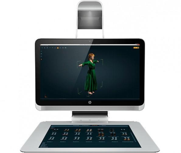 HP Sprout: Die Workstation kombiniert ein zweites Touch-Interface mit einem Beamer und vier Kameras. (Foto: HP)
