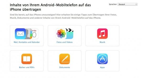 Apple kam Google mit einem Guide für den Wechsel von Android zu iOS zuvor. (Bild: Apple)