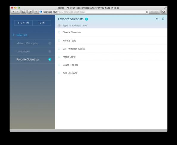 Meteor 1.0: Anfänger bekommen eine Schritt-für-Schritt-Anleitung und verschiedene Beispiel-Apps. (Screenshot: Meteor)