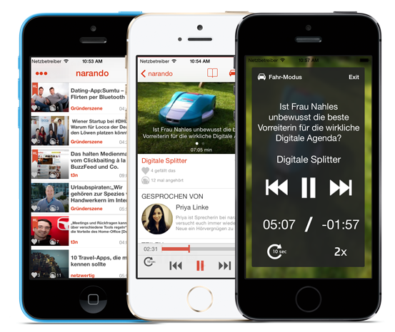 Die Narando-App bündelt alle Artikel, die du hören möchtest. Der Fahr-Modus vereinfacht die Bedienung im Auto.