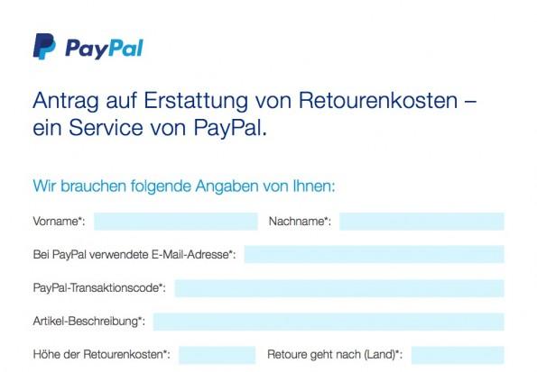 Ein Klick auf das Bild öffnet das Retourenkosten-Erstattungsformular(Screenshot: PayPal)