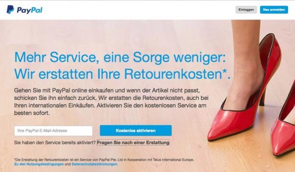 Paypal bietet seinen schweizer Kunden ab sofort bis zum 31.12 eine Retourenkosten-Erstattung.(Screenshot: Paypal)