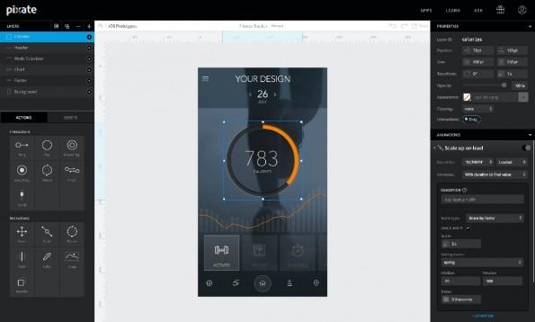 Mit Pixate erstellt ihr schnell eigene Prototypen und testet sie auf eurem Smartphone. (Screenshot: Pixate)