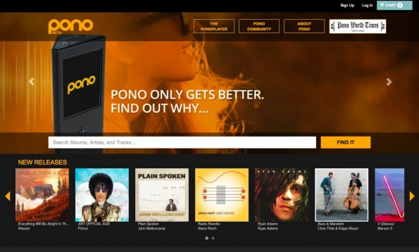 Die Pono Website. (Screenshot: Pono)