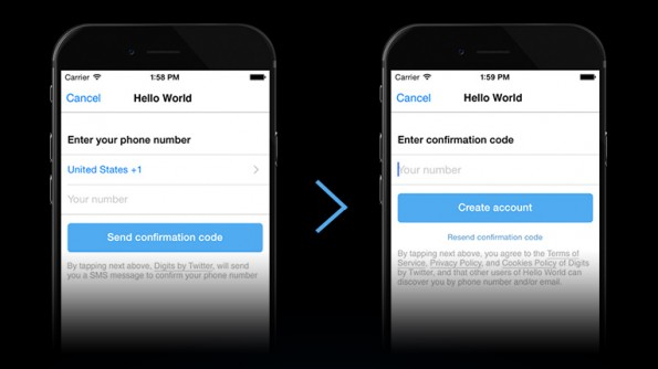 Fabric-SDK: Digits ermöglicht das Login per SMS – und ohne Passwort. (Grafik: Twitter)