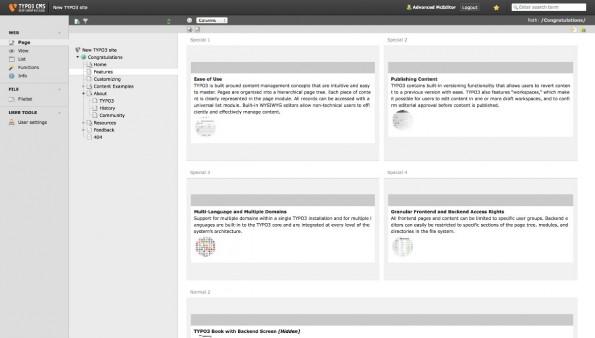 Das ist der Stand bei TYPO3 CMS. (Screenshot: TYPO3)