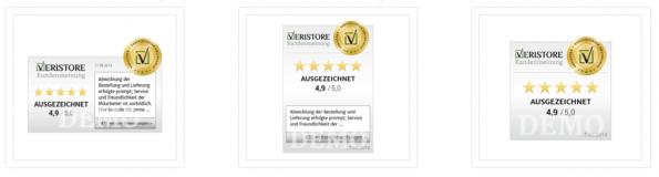 Das Veristore-Badge kann wahlweise auch eine aktuelle Kundenbewertung anzeigen. (Screenshot: Veristore)