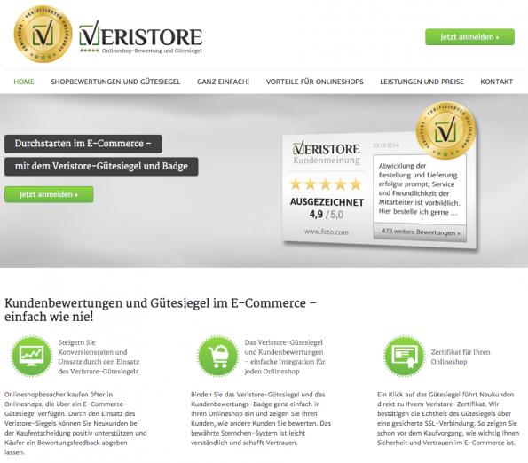Der neue Gütesiegel-Anbieter Veristore im t3n-Review. (Screenshot: Veristore)
