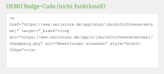 Die Integration per HTML-Code. (Screenshot: Veristore)