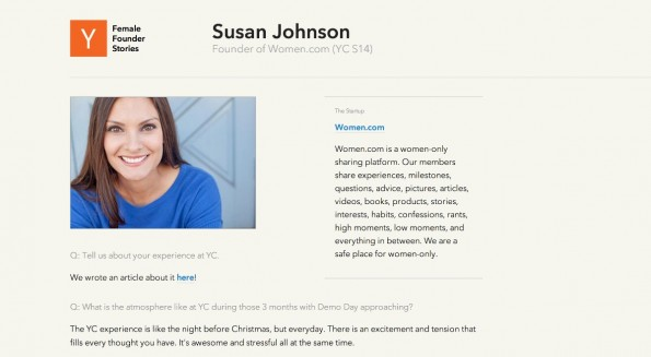 Susan Johnson hat das Startup Women.com gegründet. (Screenshot: Female Founder Stories)