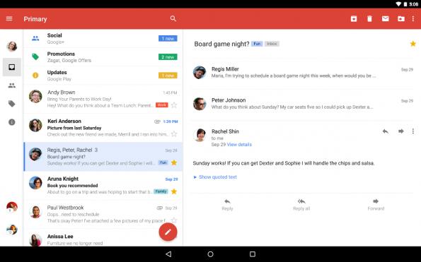 Gmail-App am Tablet: Schneller Antworten mit neuem Reply-Button. (Bild: Google)