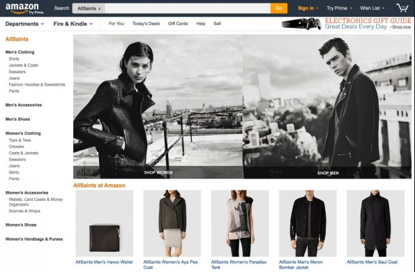 Das Storefront von AllSaints bei Amazon. (Screenshots: Amazon)