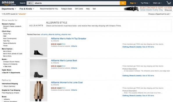 AllSaints Suchergebnisse bei Amazon. (Screenshot: Amazon)