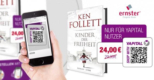 Bis 29. November kann der abgebildete Ken-Follet-Roman vergünstig erworben werden – auch auf Deutsch, der Versand erfolgt aus Luxemburg.(Grafik: Yapital/Ernster)