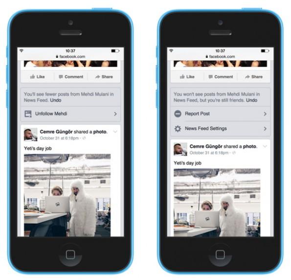 Facebook: Personen, Gruppen und Seiten lassen sich jetzt einfacher und schneller aus dem Newsfeed verbannen. (Grafik: Facebook)