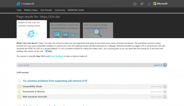 Auch Microsoft bietet praktische Tools zum Testen eurer Website an. (Screenshot: modern.IE)