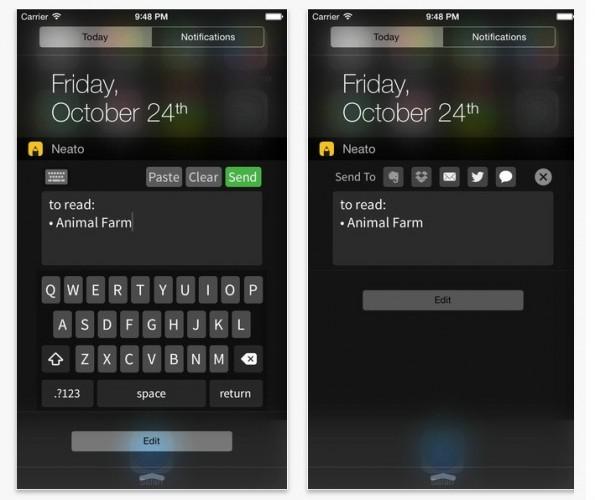 Neato ist ein praktisches, interaktives Widget für iOS 8 für schnelle Notizen. (Bild: iTunes)