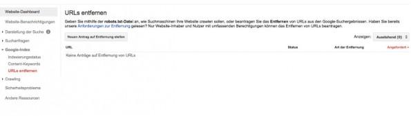 SEO: Ungewollt indexierte Testseiten könnt ihr über Googles Webmaster-Tools entfernen. (Screenshot: Google)