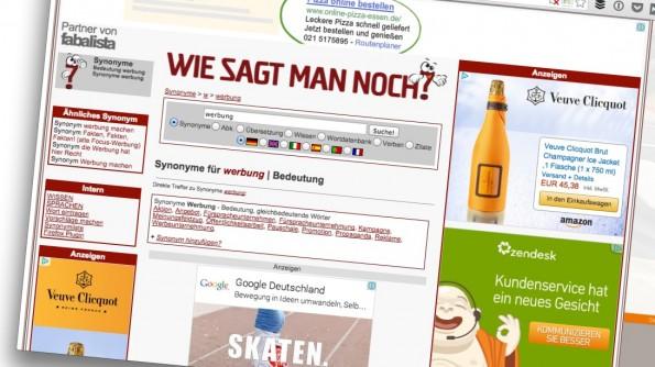 Hast du noch Platz für Werbung? (Screenshot: wie-sagt-man-noch.de)