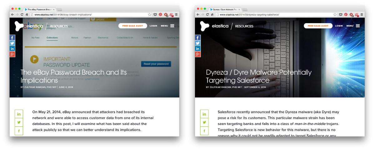 Trotz Kontrastreicher Hintergrundbilder Ist Die Uberschrift Der Blogbeitrage Auf Elastica Stets Lesbar Screenshots