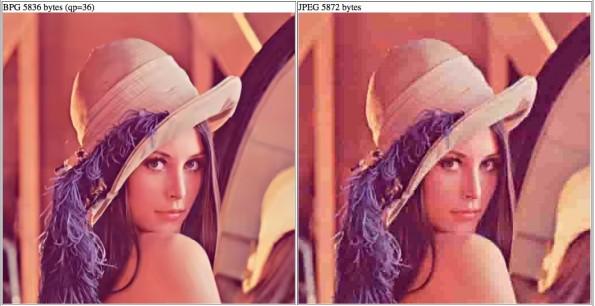 JPEG vs. BPG: Fast gleiche Dateigröße, deutlicher Qualitätsunterschied (Screenshot: bellard.org)