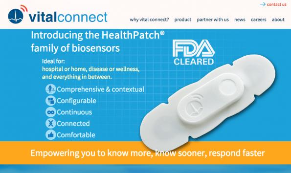 Das Startup Vital Connect vertreibt ein Bio-Sensor, der am Körper getragen wird und eine Vielzahl von Körperfunktionen misst. Auf Wunsch überträgt das System das persönliche EKG aufs Smartphone. (Screenshot: Vital Connect)